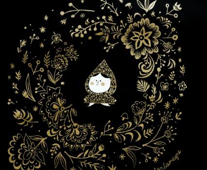 tote bag noir -dessin doré zoom